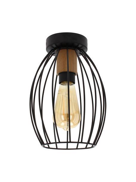 Kleine plafondlamp Gunnar met houten decoratie, Lampenkap: gecoat metaal, Fitting: eikenhout, geolied, Baldakijn: gecoat metaal, Zwart, bruin, Ø 18 x H 26 cm
