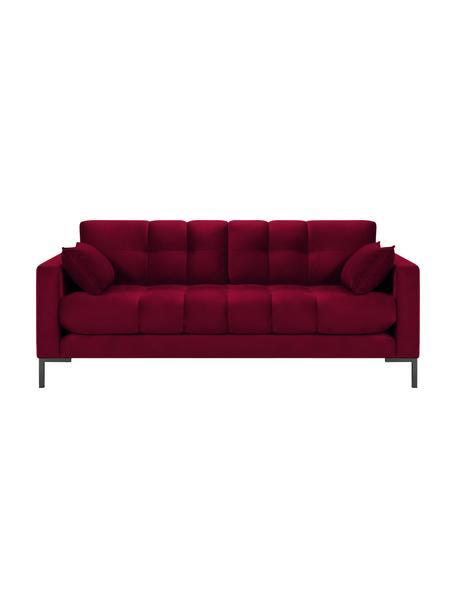 Sofa z aksamitu Mamaia (2-osobowa), Tapicerka: aksamit poliestrowy Dzięk, Stelaż: lite drewno sosnowe, skle, Nogi: metal lakierowany, Czerwony, S 177 x G 92 cm