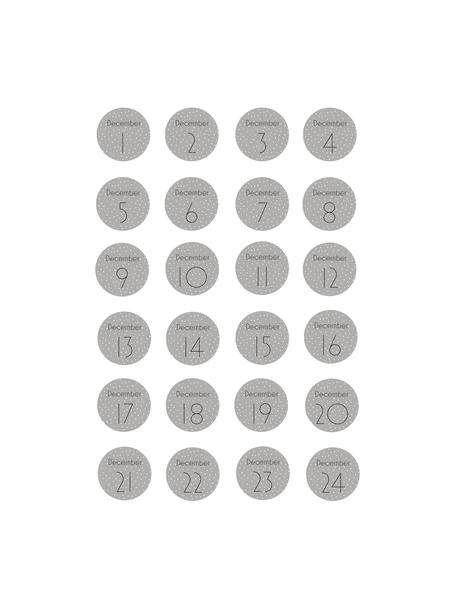 Aufkleber-Set Advent, 24 Stück, Papier, Grau, Weiß, Schwarz, Ø 5 cm
