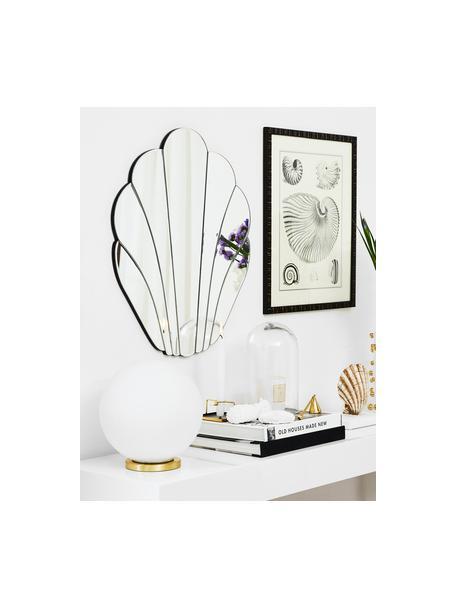 Kleine Tischlampe Beth aus Opalglas, Lampenschirm: Glas, Lampenfuß: Metall, vermessingt, Weiß, Messing, Ø 25 x H 26 cm
