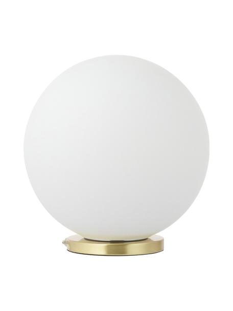 Kleine Nachttischlampe Beth aus Glas, Lampenschirm: Glas, Lampenfuß: Metall, vermessingt, Weiß, Messing, Ø 25 x H 26 cm