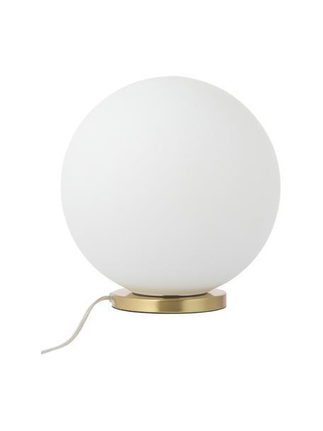 Kleine tafellamp Beth van opaalglas, Lampenkap: glas, Lampvoet: vermessingd metaal, Wit, messingkleurig, Ø 25 x H 26 cm