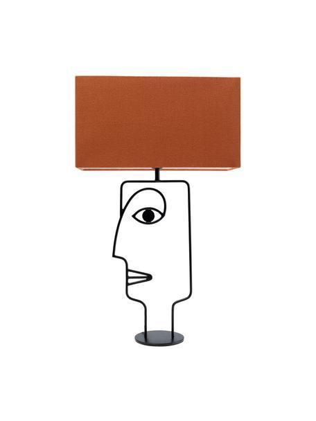 Grosse Tischlampe Face Orange, Lampenschirm: Baumwolle, Gestell: Stahl, pulverbeschichtet, Orange, Schwarz, 40 x 66 cm