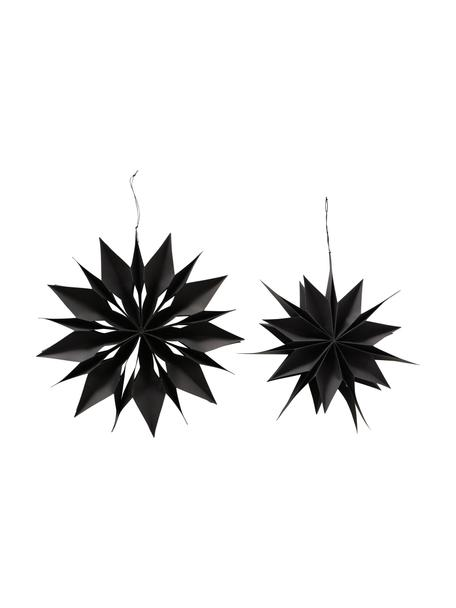 Stern-Anhänger Kassia Ø 40 cm, 2 Stück, Papier, Schwarz, Ø 40 x T 8 cm