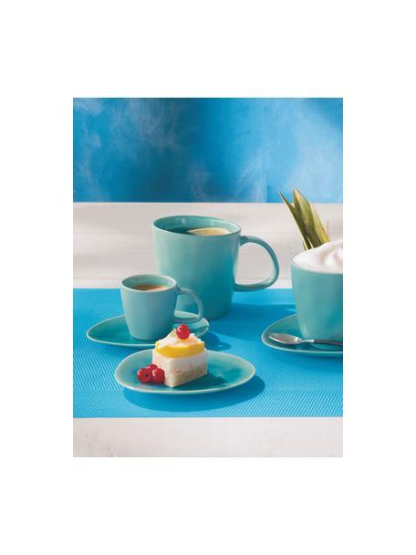 Tazzina ovale da caffè in porcellana à la Plage 2 pz, Porcellana, smalto craquele, Turchese, Ø 6 x Alt. 5 cm