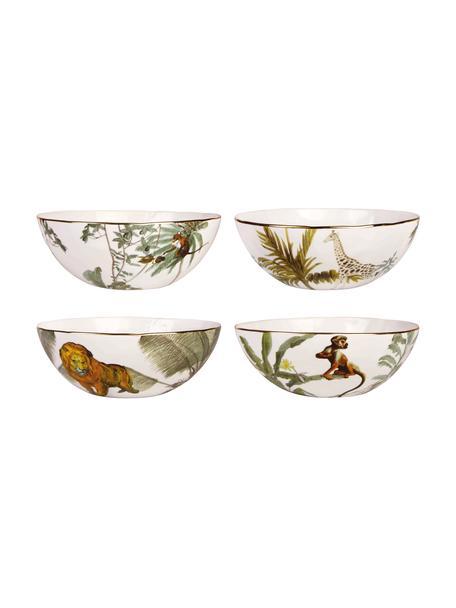 Schälchen Animaux mit Goldrand und tropischen Motiven, 4er-Set, Porzellan, Mehrfarbig, Ø 16 x H 5 cm