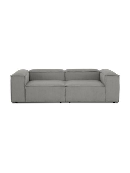 Modulares Sofa Lennon (3-Sitzer) in Grau aus Cord, Bezug: Cord (92% Polyester, 8% P, Gestell: Massives Kiefernholz, Spe, Cord Grau, B 238 x T 119 cm