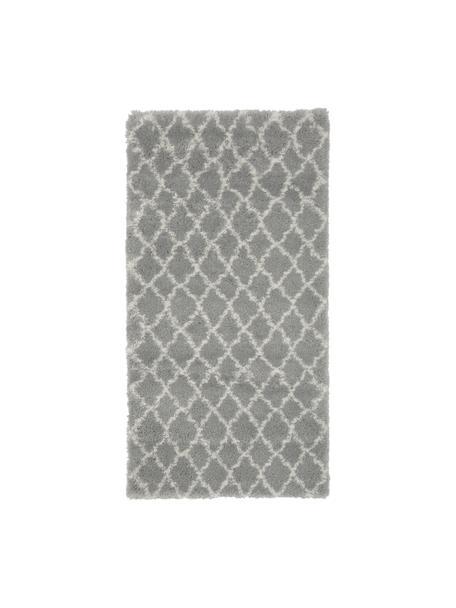 Hochflor-Teppich Mona in Grau/Cremeweiß, Flor: 100% Polypropylen, Grau, Cremeweiß, B 80 x L 150 cm (Größe XS)