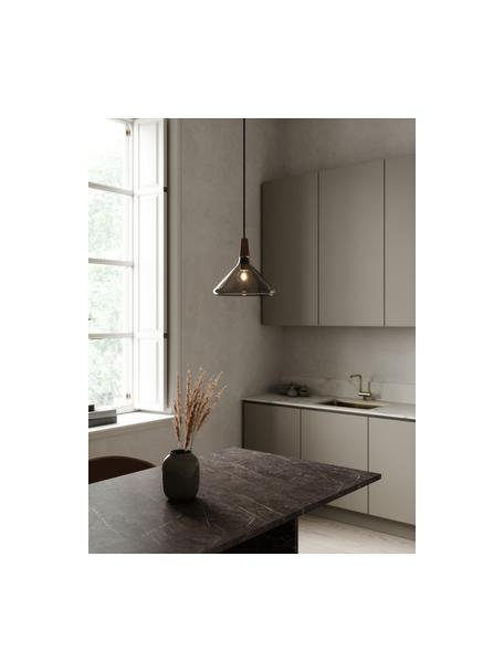 Lámpara de techo pequeña Caxixi, Pantalla: vidrio, Anclaje: metal recubierto, Cable: cubierto en tela, Gris transparente, Ø 27 x Al 25 cm