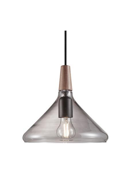 Kleine hanglamp Nori van glas, Lampenkap: glas, Decoratie: hout, Baldakijn: gecoat metaal, Grijs, transparant, Ø 27 x H 25 cm