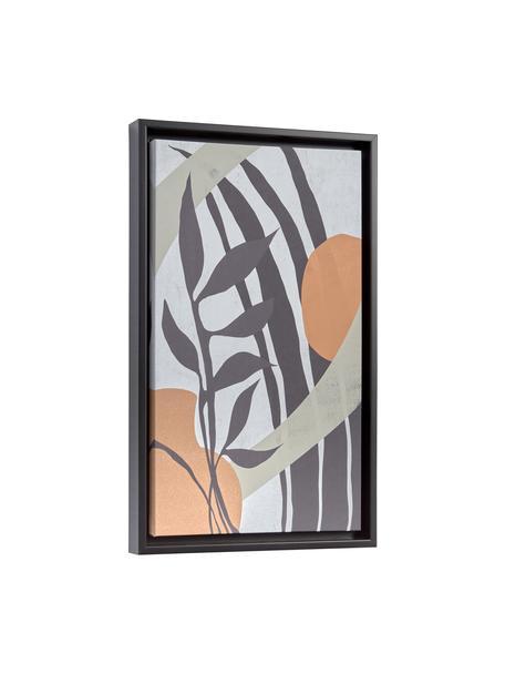Gerahmter Digitaldruck Bianey, Rahmen: Mitteldichte Holzfaserpla, Bild: Leinwand, Blau, Grün, Orange, Grau, 30 x 50 cm