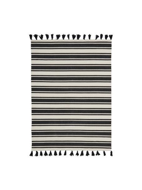 Ręcznie tkany dywan z bawełny z chwostami Vigga, Czarny, beżowy, S 120 x D 180 cm (Rozmiar S)