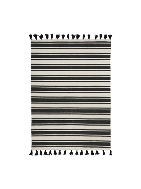 Tappeto in cotone a righe tessuto a mano con nappe Vigga, 100% cotone, Nero, beige, Larg. 120 x Lung. 180 cm (taglia S)