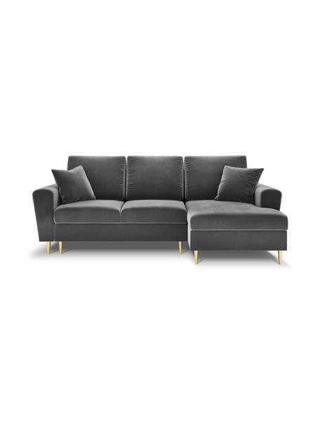Sofa narożna z aksamitu z funkcją spania i miejscem do przechowywania Moghan (4-osobowa), Tapicerka: 100% aksamit poliestrowy , Nogi: metal powlekany, Jasny szary, S 236 x G 145 cm