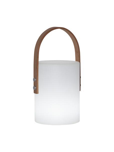 Mobiele dimbare LED tafellamp Lucie, Lampenkap: kunststof, Decoratie: metaal, Wit, houtkleurig, L 19 x H 34 cm