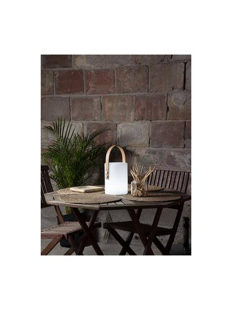 Lámpara para exterior regulable Lucie, portátil, Pantalla: plástico, Asa: madera, Blanco, madera, L 19 x Al 34 cm