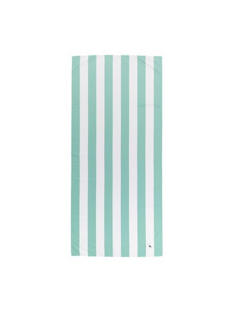 Microvezel strandlaken Cabana, sneldrogend, Microvezels (80% polyester, 20% polyamide), Mintgroen, wit, 90 x 200 cm