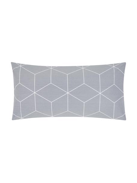 Baumwoll-Kopfkissenbezüge Lynn mit grafischem Muster, 2 Stück, Webart: Renforcé Fadendichte 144 , Grau, Cremeweiß, 40 x 80 cm