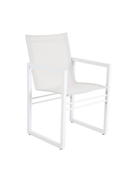 Sedia da giardino in alluminio bianco Vevi, Struttura: alluminio verniciato a po, Seduta: textilene, Bianco, Larg. 57 x Prof. 54 cm