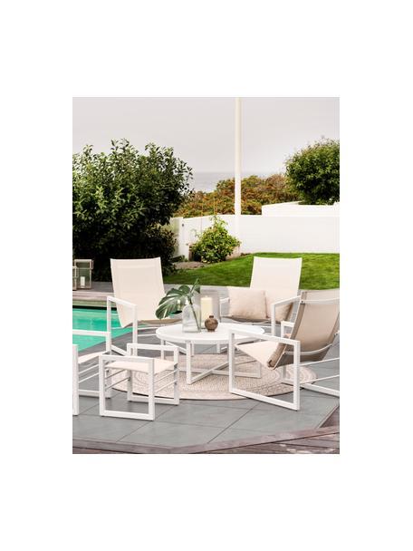 Silla para exterior Vevi, Estructura: aluminio con pintura en p, Asiento: textil, Blanco, An 57 x F 54 cm