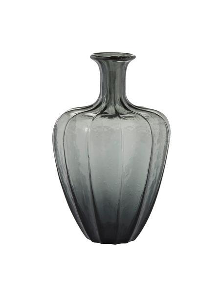 Jarrón de suelo de vidrio soplado artesanalmente Miyanne, Vidrio, Gris oscuro transparente, Ø 23 x Al 35 cm
