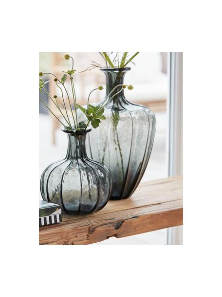 Jarrón grande de vidrio Miyanne, Vidrio, Gris oscuro transparente, Ø 23 x Al 35 cm