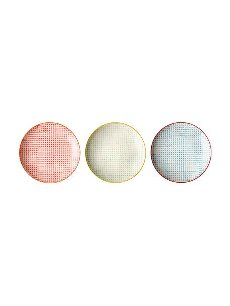 Ontbijtbordenset Carla, 3-delig, Keramiek, Rood, groen, blauw, Ø 20 cm