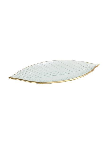 Decoratieve schaal Leaf, Glas, Transparant, goudkleurig, 30 x 13 cm