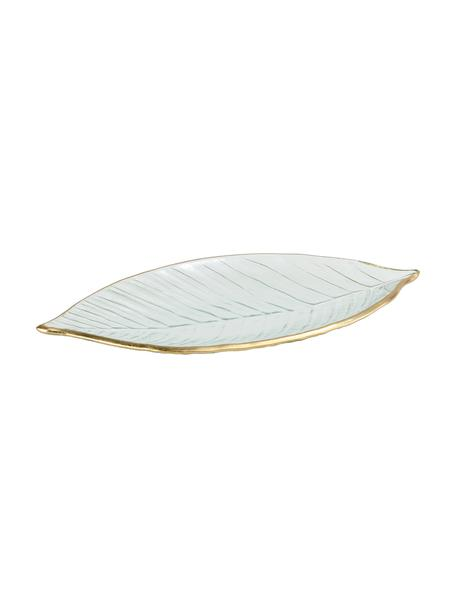 Deko-Schale Leaf, Glas, Transparent, Goldfarben, B 30 x T 13 cm