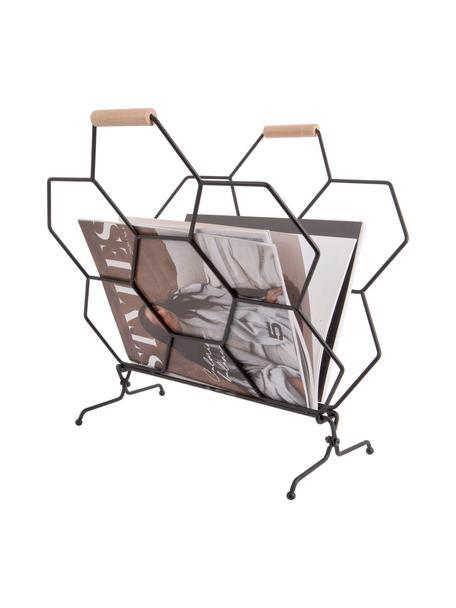 Portariviste Honeycomb, Nero, legno naturale, Larg. 40 x Alt. 45 cm