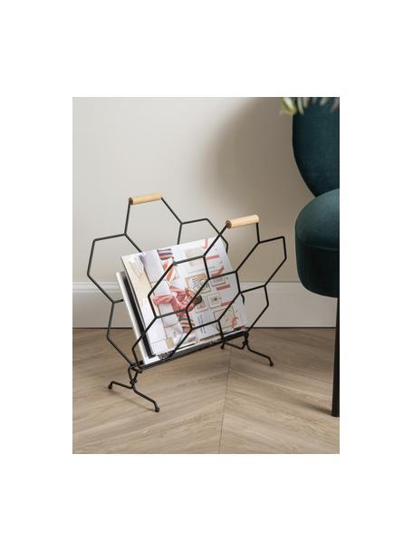 Tijdschriftenhouder Honeycomb, Handvatten: hout, Zwart, naturel, 40 x 45 cm