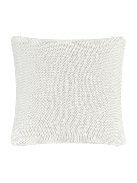 Federa arredo a maglia in cotone biologico bianco Adalyn, 100% cotone biologico, certificato GOTS, Bianco naturale, Larg. 40 x Lung. 40 cm