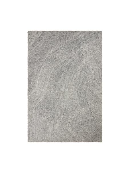 Handgeweven vloerkleed Canyon met golfachtig patroon in grijs/wit, 51% polyester, 49% wol, Grijs, B 160 x L 230 cm (maat M)