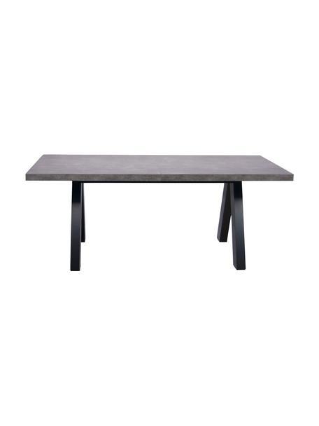 Verlengbare eettafel Apex in betonnen look, Tafelblad: lichte honingraatstructuu, Poten: MDF met melamineoppervlak, Betonimitatie, zwart, B 200-250 x D 100 cm