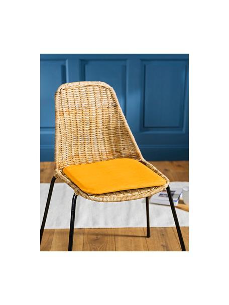 Cienka poduszka na krzesło Avaro Square, 4 szt., Brunatnożółty, S 35 x D 35 cm