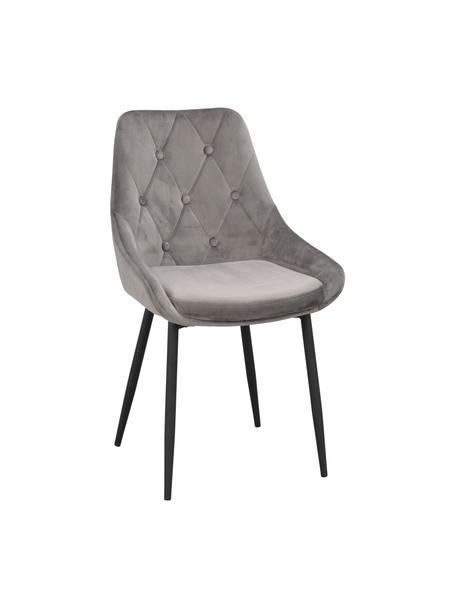 Krzesło tapicerowane z aksamitu Alberton, 2 szt., Tapicerka: 100% aksamit poliestrowy, Nogi: metal lakierowany, Szary, czarny, S 59 x G 62 cm