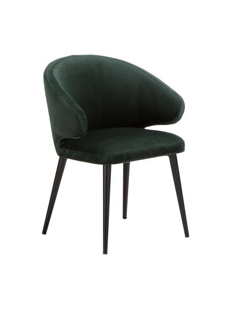 Krzesło z podłokietnikami z aksamitu Celia, Tapicerka: aksamit (poliester) Tkani, Nogi: metal malowany proszkowo, Aksamitny ciemnyzielony, S 57 x G 62 cm