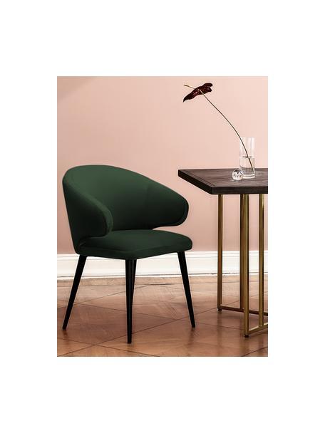Fluwelen armstoel Celia in modern design, Bekleding: fluweel (polyester), Poten: gepoedercoat metaal, Fluweel donkergroen, B 57 x D 62 cm