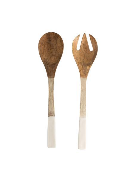Posate da insalata in legno di mango Lugo, set di 2, Legno di mango, rivestito, Bianco, legno di mango, Lung. 30 cm