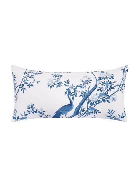 Baumwollperkal-Kissenbezüge Annabelle mit floraler Zeichnung, 2 Stück, Webart: Perkal Fadendichte 200 TC, Blau, Weiß, 40 x 80 cm