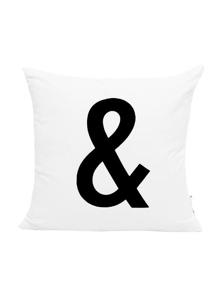 Funda de cojín Alphabet, 100%poliéster, Negro, blanco, An 40 x L 40 cm