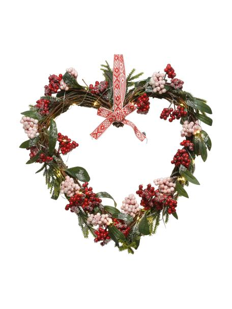 LED kerstkrans Heart, Kunststof, Rood, groen, wit, 36 x 43 cm
