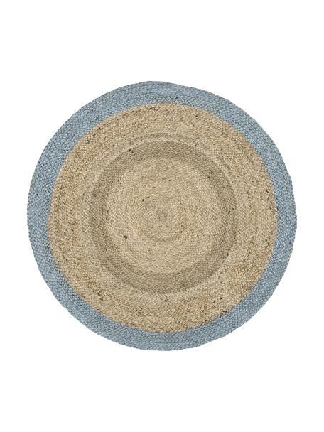 Runder Jute-Teppich Shanta mit blauem Rand, handgefertigt, Jute, Taubenblau, Ø 100 cm (Grösse XS)