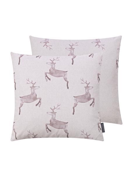 Dwustronna poszewka na poduszkę Rana, 100% bawełna, Odcienie szarego z różowym odcieniem, S 50 x D 50 cm