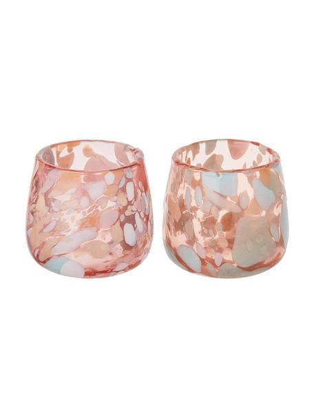 Mondgeblazen waxinelichthouders Art, 2 stuks, Mondgeblazen glas, Roze, blauw, groen, zalmkleurig, crèmekleurig, Ø 10 x H 9 cm