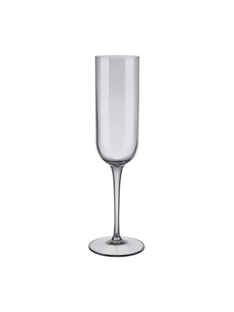 Copas flauta de champán Fuum, 4uds., Vidrio, Gris transparente, Ø 7 x Al 24 cm