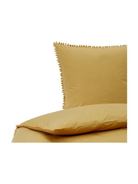 Pościel z perkalu z pomponami Bommy, Musztardowy, 135 x 200 cm + 1 poduszka 80 x 80 cm
