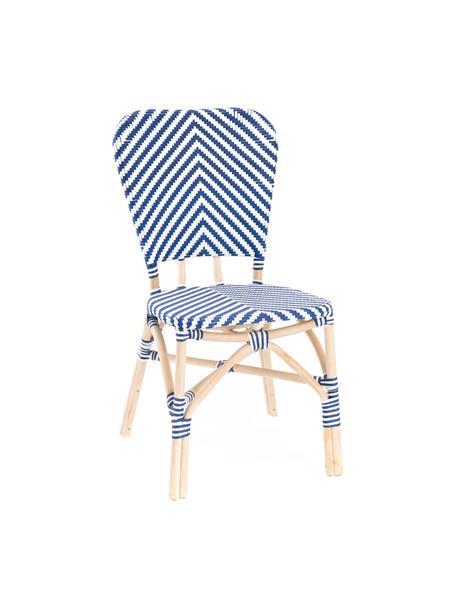 Silla para exterior Bistrot, Tapizado: tela tejida, Estructura: ratán, Azul, blanco, An 59 x F 52 cm
