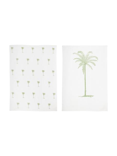 Baumwoll-Geschirrtücher Nala mit Palmenmotiv, 2 Stück, Baumwolle, Gebrochenes Weiß (Offwhite), Beige, 50 x 70 cm