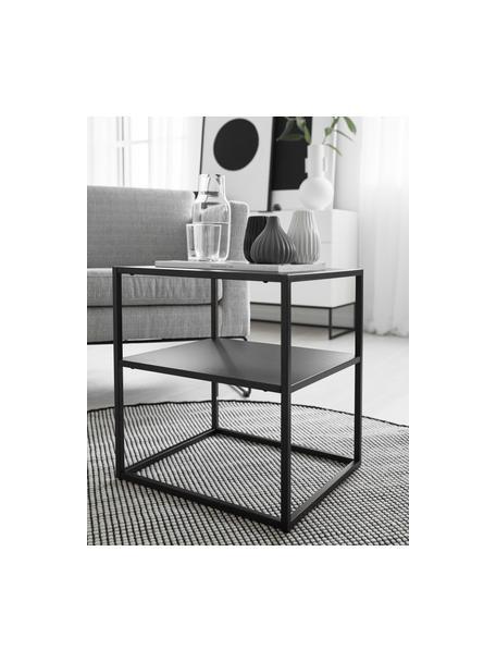 Stolik pomocniczy z metalu Neptun, Metal malowany proszkowo, Czarny, S 45 x G 40 cm